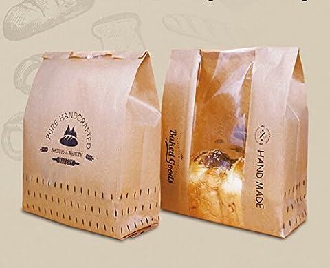 Funcoo Lot de 30Kraft Nourriture papier d'emballage à pain boulangerie Sac avec fenêtre avant, étiquette d'étanchéité Autocollant inclus 33x21x9cm Style-3
