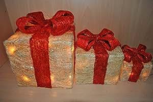 Beleuchtetes Geschenkboxen-Set, 3-tlg, einzeln stellbar