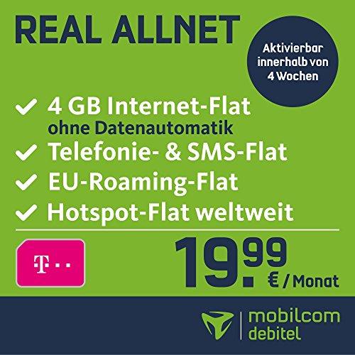 mobilcom-debitel Real Allnet im Telekom Netz (19,99 EUR monatlich, 24 Monate Laufzeit, Telefonie- und SMS-Flat in alle dt. Netze, EU-Flat, 4GB Internet Flat mit max. 42,2 MBit/s, Triple-Sim-Karten)