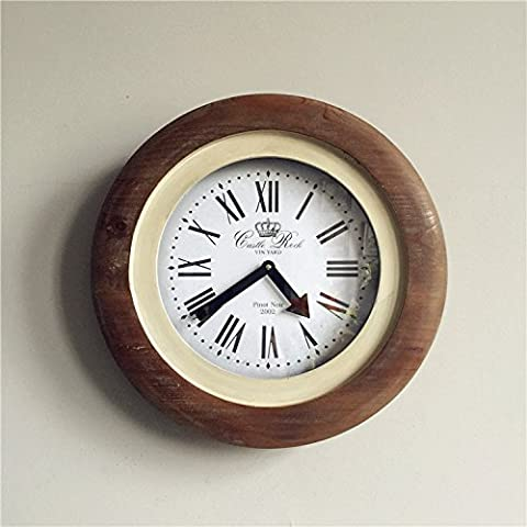 DSL-American rustic log mute the color solid wood frames wall clock (without power supply)