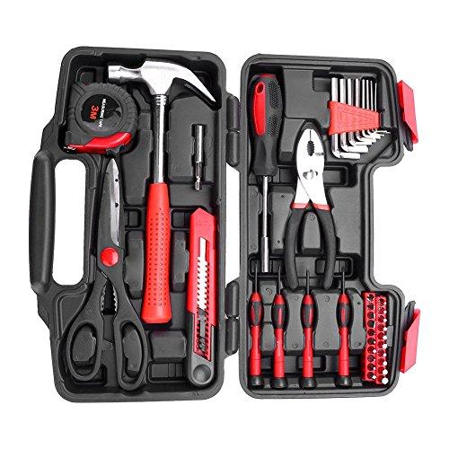 Cocoarm 38 teiliger Haushalts Werkzeugkoffer Werkzeug Metallkonstruktion Hohe Qualität Werkzeugtasche Tool Kit Werkzeugset Werkzeugkiste Werkzeugwagen