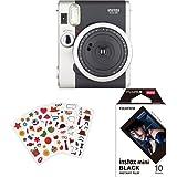Fujifilm - Instax Mini 90 NEO Classic - Appareil Photo à Impression Instantanée - Noir + Lot de 110 Autocollants + Color Frame