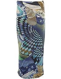 Unbranded by Fantasia Ladies Women's Leopard Rose Wave Cap Sleeve Crop Top Midi Pencil Skirt 8-14 [Blue Wave Skirt M/L]