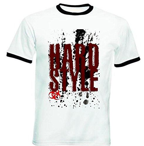 Teesquare1st Men's HARDSTYLE MUSIC Black Ringer T-Shirt Size Medium