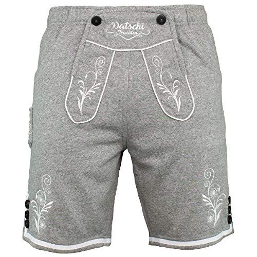 Kurze Lederhosen Jogginghose Bestickt, 4X große Hosentaschen - flauschig weich - Herren Trachten-Hose für Oktoberfest oder Alltag - Bayrische Hose in Lederhosenoptik (XXL, Hellgrau)