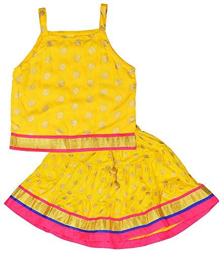 Baby Girls' Tradisional Havey Border Lace Work Rayon Lehenga Choli Set Ethnic...
