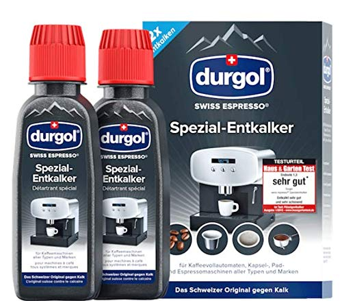 durgol swiss espresso Spezial-Entkalker – Kalkentferner für Kaffeemaschinen aller Typen und Arten – Einfache Reinigung ohne Einwirkzeit & Rückstände – 2x125ml