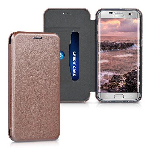 Kwmobile custodia per samsung galaxy s7 edge - cover a libro in simil pelle per cellulare - flip case protettiva oro rosa