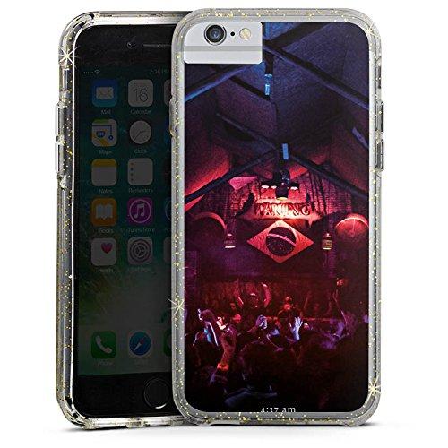 Apple iPhone 8 Bumper Hülle Bumper Case Glitzer Hülle Club Brasilien House Bumper Case Glitzer gold