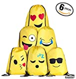 Zainetto con Chiusura a Corda Emoji Borsa per Bambini e Ragazzi - Per Lui e per Lei, Sacca da Ginnastica e Regalo per le Feste, Set da 6