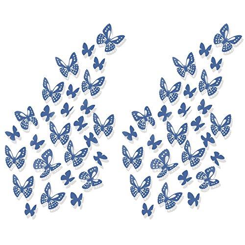 ier 3D Schmetterlinge Wandtattoo Wandaufkleber Sticker zum Kleben Dekor für Wohnzimmer Kinderzimmer Türen Fenster Badezimmer Kühlschrank (Diy-fenster-dekorationen Für Halloween)