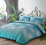 clicktostyle Ombre Palmen Polycotton Bettbezug-Set mit Kissen Bettwäsche, Ombre Palms Teal, Einzelbett