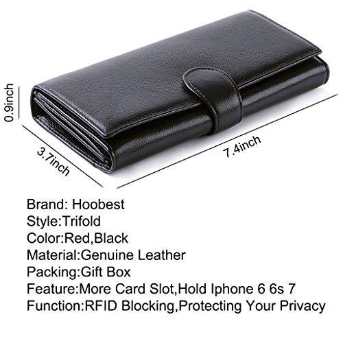 Hoobest Women RFID Blocking Wallet Trifold Ladies Luxury Leather Clutch Travel Purse