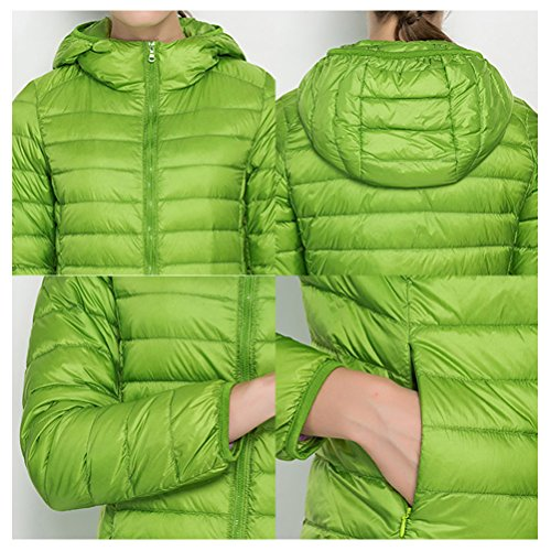 Zhhlaixing Frau Lady's Winter Fashion Casual Slim Down Ultra Light Coat With Hood Jacket Light Blue