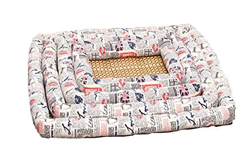 XIAOPANG Summer Kennel Dog Mat Weiche Universal-Haustiermatte Cool Straw Pet,White,L -
