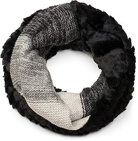 styleBREAKER Streifen Muster Wellen Strickloop Schal mit Kunstfelleinsatz, Strickschal, Damen 01018142, Farbe:Schwarz-Grau-Weiß