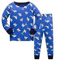 Qtake Fashion Boys Pajamas Children Rocket Clothes Set 100% Cotton Little Kids Pjs Sleepwear (6-7 Years, Navy blue1)