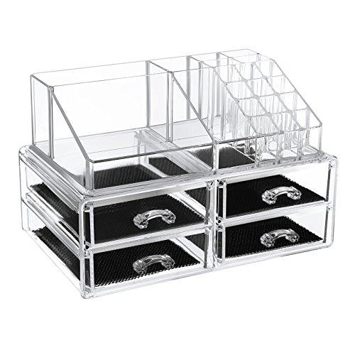 Songmics la grande taille Organiseur de maquillage Boîte de rangement cosmétique en acrylique présentoirs transparent 2 parties 4 tiroirs plus grand (32 x 20 x 20.5 cm) (L x L x H) JKA014