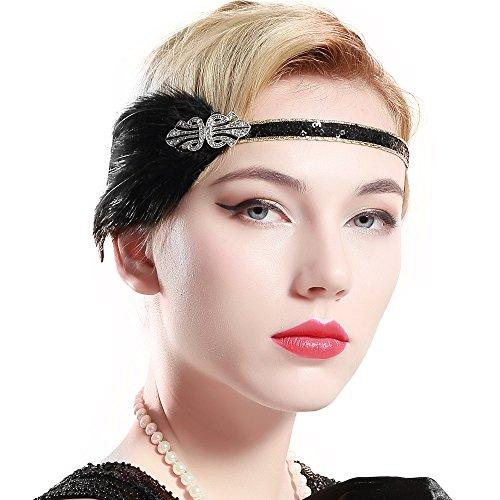 band Damen Gatsby Kostüm Accessoires 20er Jahre Flapper Feder Haarband ()