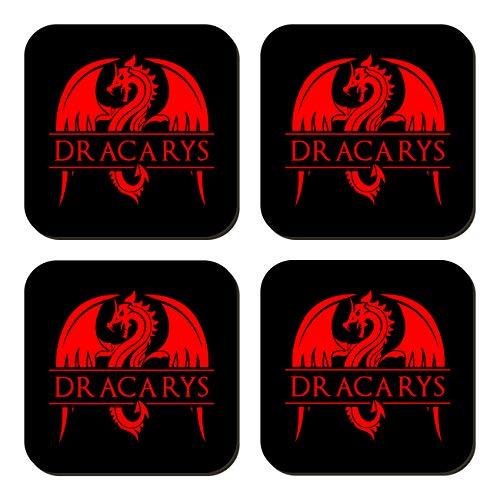 ClickInk Set 4 Posavasos de Madera. Dracarys, Juego de Tronos. Posavasos Frikis, Posavasos Regalo, Regalo Friki, Fan Art.