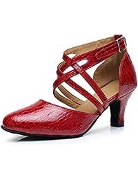 HCCY Parte Inferior Suave de Mujer Adulta de Cuero Rojo con Zapatos de Baile  Latino. ab03be187420