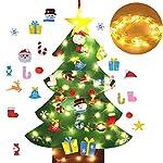 Fansport Albero di Natale in Feltro Decorazione da Parete Giocattolo educativo Fai da Te con Ornamenti e Luce a Corde