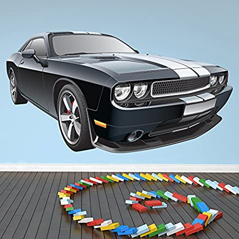 Ford Mustang noir et blanc Autocollant mural Classique Voiture Sticker
