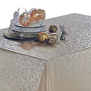 THE TABLECLOTH SHOP Pearl Trail Silver Vinyl Wipe Clean Tablecloth 2m