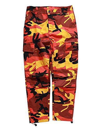 nts Camo Pants Freizeithose Cargohose Streetwear Hip Hop Harem Jogger Camouflage, Orange(027), S{Taille 72 CM(28.3 inch)} ()