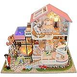 YCX Dollhouse Kit Fai da Te casa delle Bambole casa in Miniatura, in Legno casa Materiali da Costruzione Fai da Te per armeggiare Accessori Giocattoli educativi Giocattoli per Bambini,Rosa