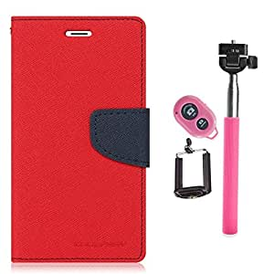 Aart Fancy Diary Card Wallet Flip Case Back Cover For Samsung J1 Ace - (Red) +Remote Aux Wired Fashionable Selfie Stick Compatible for all Mobiles Phones By Aart Store