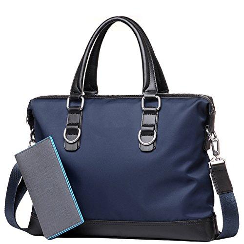 Herren Business Bag Tasche Oxford Handtasche Querschnitt Casual Bag Business Bag Aktentasche Schultertasche Diagonal Paket Blue+Wallet