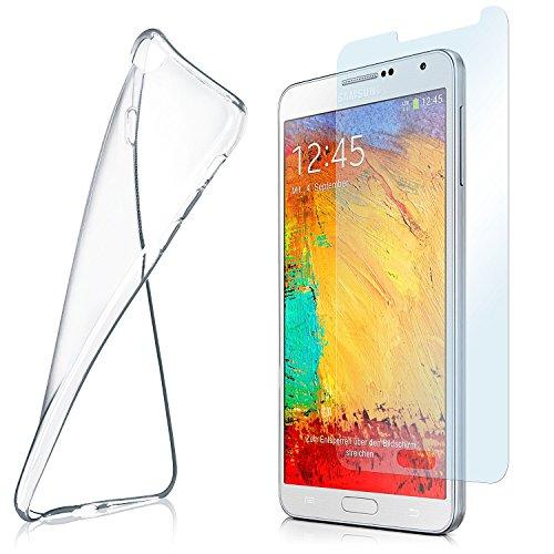 OneFlow Schutzhülle + Panzerfolie für Samsung Galaxy Note 3 Neo Hülle Silikon Case aus 0,7mm dünnem TPU   Zubehör zum Handy Schutz   Handyhülle Durchsichtig   Schutzfolie Glas Folie Transparent