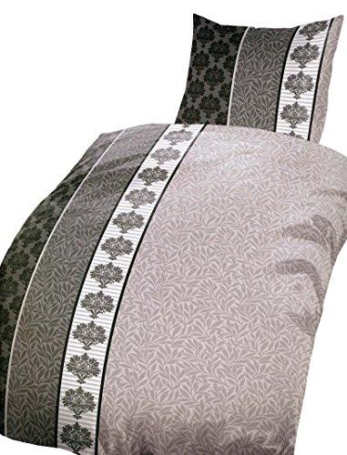 Leonado Vicenti 4 teilig / 2×2 TLG. Bettwäsche Microfaser 135 x 200 cm gestreift in braun/beige Set mit Reißverschluss