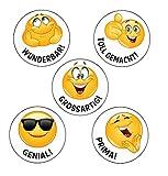 125 Emoji Stück - Lehrersticker - Belobigungs Sticker- 5 verschiedene Motive - z.B. für Schule Lehrer - Lob Belohnung Aufkleber - Motivationssticker