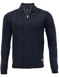 hommes mélange laine tricot Threadbare Pull tricot Pull-over haut épais fermeture éclair hiver