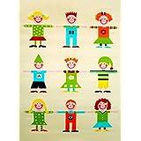 Little Helper IVI - Alfombra hipoalergénica con bordado en relieve (100 x 150 cm, tamaño grande), diseño de ribera de niños y niñas