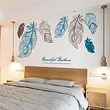 Stickers muraux Grand salon TV fond de canapé de mur mur pâte mode de papier chambre à coucher papier peint de chevet autocollants de plume d'art de papier peint 60 * 90CM