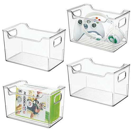 mDesign 4er-Set Aufbewahrungsbox mit Griffen - Allzweckkorb aus Kunststoff - vielseitig verwendbare Box für Küche, Badezimmer, Schrank oder Büro - durchsichtig -