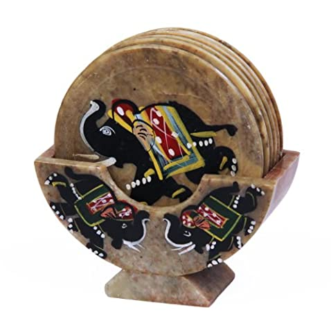 Handcrafted Marble Coasters Set Of 6 In Holder With Mughal Inspired Elephant Inlay 7.97 Cm by Store Indya
