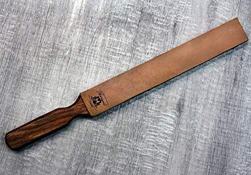 Pur cuir de vache double face poignée en bois pour aiguiser tous types de lames et rasoirs. Pour tous.