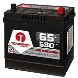 Tokohama Autobatterie 65Ah 580A/EN Asia Japan Starter Batterie Plus Pol Rechts ersetzt 60Ah 12V 56068