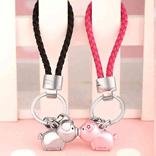 Cs 2 Couples de Porte-clés Combinaison Baiser Le Cochon mâle et Femelle Voiture Porte-clés tricoté Anneau de chaîne de Corde