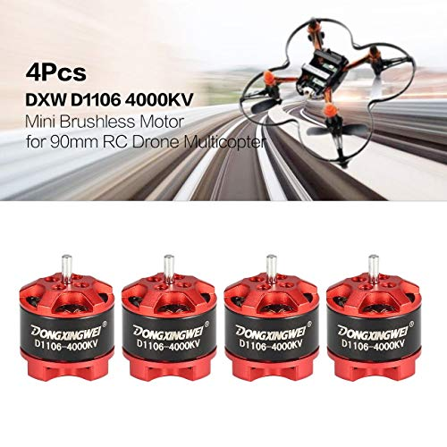 Ballylelly-Brushless Motor, 4 Stücke DXW D1106 4000KV 1-3 S Mini 1,5mm Brushless Motor für 90mm Micro RC Racing Drone Multicopter Quadcopter Aircraft UVA (Brushless Micro Rc)