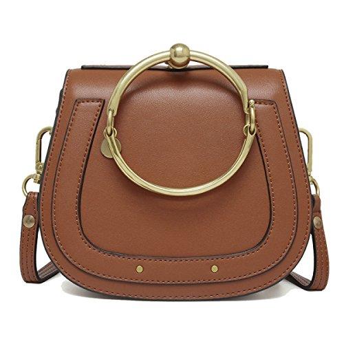 Genuine Leather Modo Anello Borsa Singola Spalla Crossbody Bag Piccolo Per Le Donne Gray2