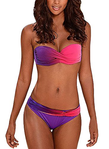 Aleumdr Damen Plissee Farbe Blockiert Trägerlosen Bikini Set Badeanzüge mit Badeshorts Violett Größe M