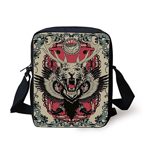 Animal,Abstract Gothic Drawing of a Leopard Head with Horns and Wings Floral Ornaments Art,Multicolor Print Kids Crossbody Messenger Bag Purse -