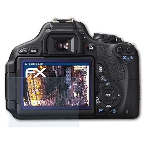 atFoliX Panzerfolie für Canon EOS 600D/Rebel T3i Folie - 3 x FX-Shock-Clear stoßabsorbierende ultraklare - Eos Canon T3i Rebel Digital