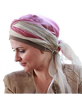 Turbante di seta viscosa con Bonnet all'interno Tania beige e rosa Cotton Comfort ®