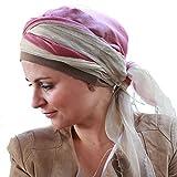 Pañuelo Tania de seda-viscosa beige y rosa con gorro interior en algodón Comfort